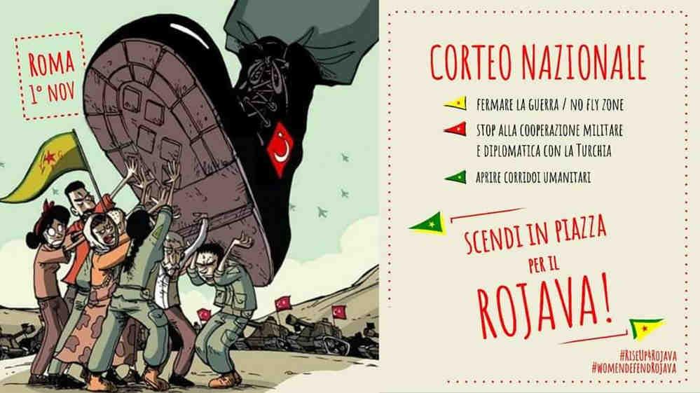Stand With Rojava - locandina corteo Roma